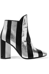 Pierre Hardy Belle Striped Watersnake Ankle Boots Silver