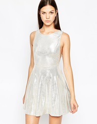 Oh My Love Metallic Skater Dress Silver