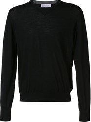 Brunello Cucinelli V Neck Sweater Black