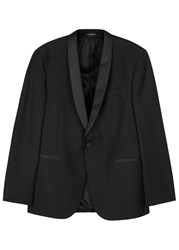 Oscar Jacobson Filip Wool Tuxedo Jacket Black