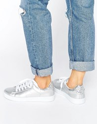Missguided Silver Glitter Tab Tennis Trainer Silver