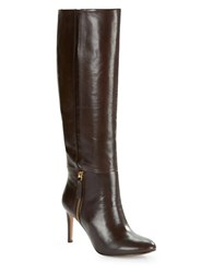Nine West Vintage Leather Knee High Boots Dark Brown