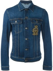Dolce And Gabbana Embroidered Patch Denim Jacket Blue
