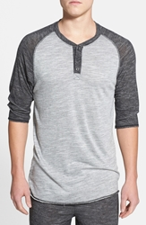 Uncl Three Quarter Raglan Henley Grey Black