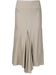 Rick Owens Draped Midi Skirt Nude And Neutrals