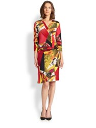 Josie Natori Three Quarter Sleeve Printed Dress Multi