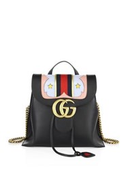 Gucci Gg Marmont Leather Chain Backpack Black Multi