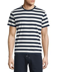 Moncler Striped Short Sleeve Tee Navy White Size Xx Large