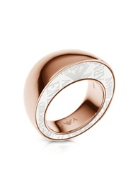 Emporio Armani Rose Goldtone Stainless Steel Ring Pink