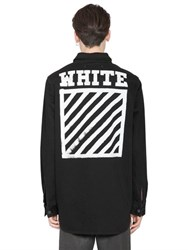 Off White Stripes Print Cotton Denim Shirt