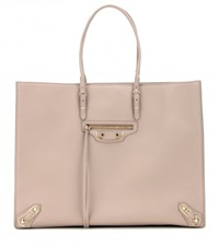 Balenciaga Papier A4 Metallic Edge Leather Tote Beige