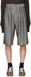 Bless Grey Jacquard Pleated Shorts