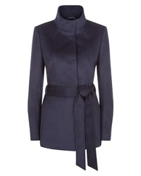 Jaeger Wool Funnel Neck Coat Navy