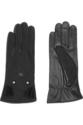 Agnelle Nubuck And Leather Gloves Black
