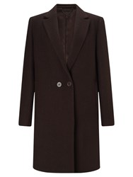 Jigsaw Matchinsky Narrow Double Breasted Coat Rich Cocoa