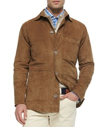 Peter Millar Suede Button Front Shirt Jacket Stone Grey