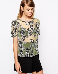The Laden Showroom X Love Lee Floral Burn Out Top Black