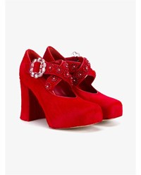 Simone Rocha Pony Skin Bead Embellished Pumps Red Black