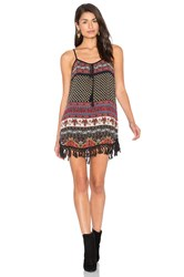 Band Of Gypsies India Print Shift Dress Black