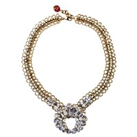 Fuchsia By Izumi Tahara Clear Rhinestone Statement Necklace Silver