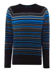Duck And Cover Men's Turismo Breton Stripe Crew Neck Jumper Black