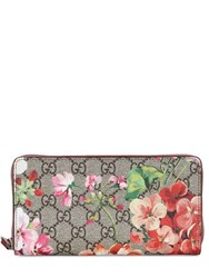 Gucci Blooms Gg Supreme Zip Around Wallet