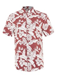 Topman Red And White Hawaiian Print Short Sleeve Casual Shirt