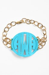 Women's Moon And Lola 'Annabel' Large Personalized Monogram Bracelet Turquoise Gold