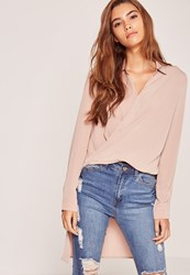 Missguided Nude Wrap Front Drop Back Shirt Brown