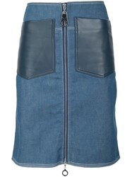 Edun Denim Patch Pocket Skirt Blue