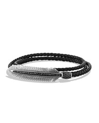 Men's Feather Triple Wrap Bracelet Black David Yurman Silver