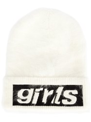 Alexander Wang Girl Embroidered Beanie White
