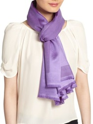 Bajra Satin Weave Cashmere And Silk Scarf Violet Blue