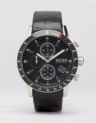 Hugo Boss Rafale Chronograph Leather Watch In Black Black