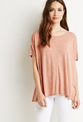 Forever 21 Space Dye Patterned Blouse Apricot White