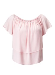 Miss Selfridge Petites Pink Frill Bardot Top