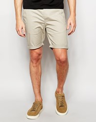 Asos Skinny Chino Shorts In Light Green Aluminium