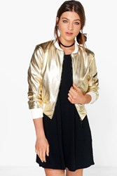 Boohoo Metallic Leather Look Ma1 Bomber Gold