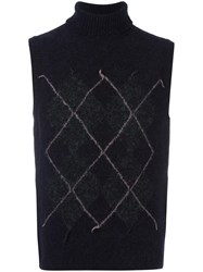 Our Legacy Argyle Knit Polo Vest Black