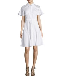 Prabal Gurung Short Sleeve Lace Shoulder Poplin Shirtdress White
