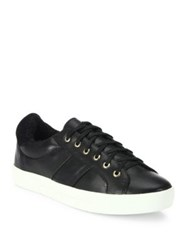 Joie Dakota Leather And Faux Shearling Sneakers Black