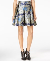 Guess Annette Pleated Printed Skirt Blue Jacquard Combo