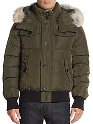 Mackage Leather And Coyote Fur Trimmed Down Jacket Black