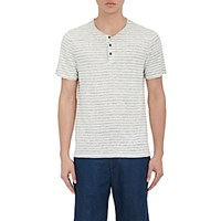 Vince. Men's Striped Linen Short Sleeve Henley White