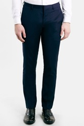 Topman Skinny Fit Navy Pin Dot Suit Trousers Blue