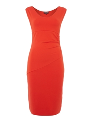 Pied A Terre Side Pleats Detail Ponte Dress Red