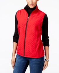 Karen Scott Reversible Fleece Vest Only At Macy's New Red Amore
