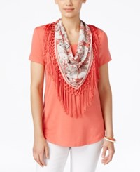 Styleandco. Style Co. Petite T Shirt With Attached Printed Fringe Scarf Only At Macy's Deepsea Coral