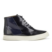 Folk Women's Ren Luxury Leather Hi Top Trainers Black Navy Black Navy