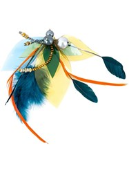 Katerina Psoma Feathered Beaded Brooch Multicolour
